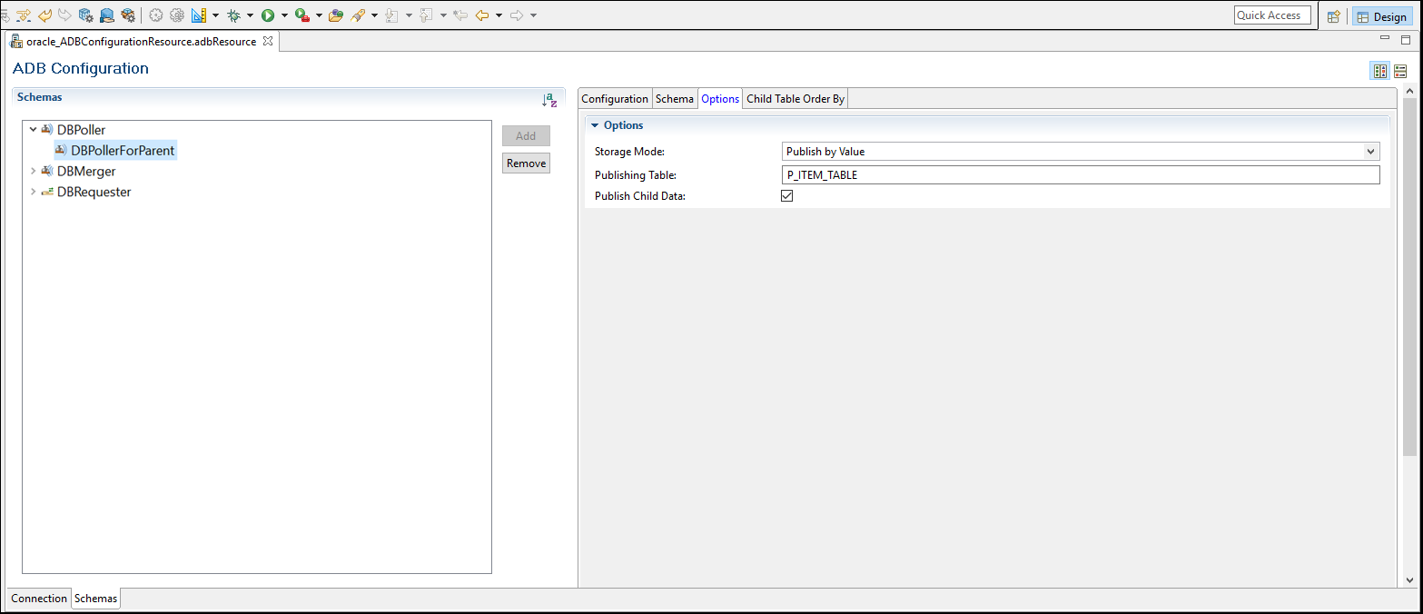 User Interface Elements of the ADB Configuration Shared Resource